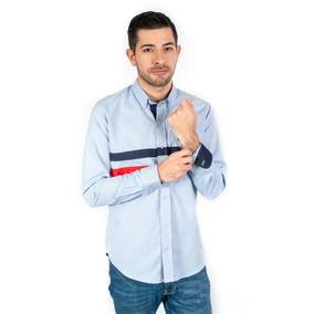 Camisa Azul Oxford Franjas Azul/rojo