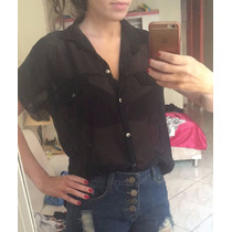 Camisa Feminina Mullet Preta Transparente Chiffon Crepe