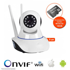 Kit 3 Câmeras Ip Wifi Hd 720p Robo Wireless C/ Micro Sd 16gb
