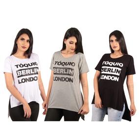 a046654a4 Camiseta Long Line Feminino - Camisetas Manga Curta no Mercado Livre ...