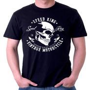 Camisa Camiseta Caveira Motoqueiro Hardcore Feminina E Masc