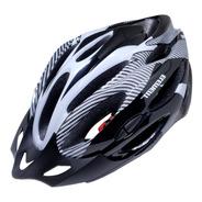 Capacete Com Sinalizador De Led Ciclismo Bike Preto - Branco