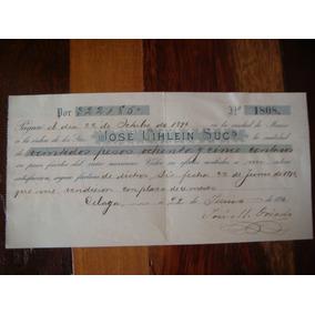 Antiguo Pagare De 1896 Botica Con Timbre Fiscal