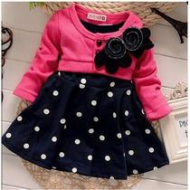 Vestido Casaco Bebe Trico Importado Inverno Flor Amiude Kids