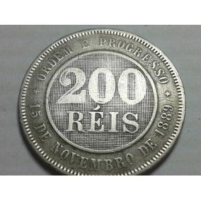 Refc-0123, 200 Reis Ano 1889 (mbc) Linda Para Colecionador