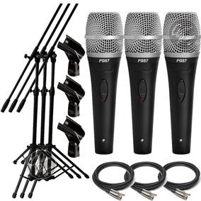 Microfono Shure Pg57 + Cable + Pie + Pipeta Combo X 3 Gtia