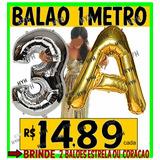 Balão Número Letra Metalizado 1 Metro Prata Dourado Rosa