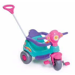 Triciclo Motoca Rosa Bebe Velocita C/haste Direção Calesita