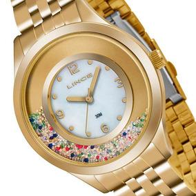 Relogio Lince Feminino Fashion Dourado Wr 50 Mts Lrg4348l