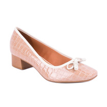 Sapato Salto Grosso C/laço E Strass Croco Verniz Vizzano Beg