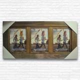 Painel Moldura Betume Para Três Fotos 15x21 Decoração