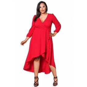 Vestido Rojo Tallas Extras Grande Wrap Manga Corto Largo