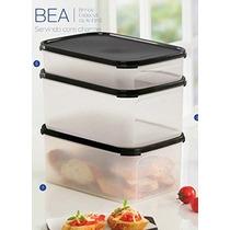 Kit Bea Porta Alimentos Modular Preto 3 Peças - Tupperware