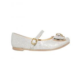 Zapatos De Fiesta Para Niña Textil Plata Marca Efectos