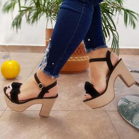 Zapatos Tacon Grueso Mujer Sandalias - Tacones Negro en Mercado ... cc7c44a80c23