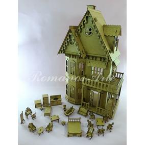 Casa Casinha P/ Bonecas Polly Pocket + 25 Móveis Mdf