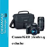 Canon T6 + 2 Lentes 18 55mm / 75 300mm + Estuche. Iva Inclui