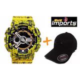 Relógio G-shock Amarelo Esportivo Masculino + Boné Oakley