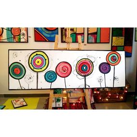 cuadros abstractos modernos flores pintados a mano