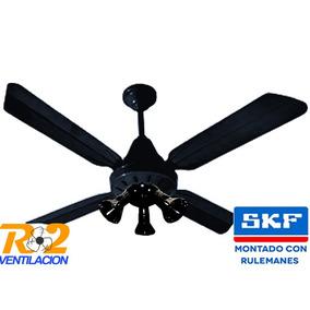 Ventilador Techo Anca Negro Chapa Con 3 Spot Luces - R2