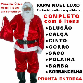 Roupa De Papai Noel Fantasia Completa P A Gg - Feliz Natal
