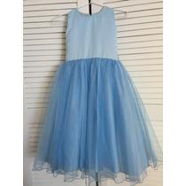 Vestido De Cenicienta Azul Cielo Con Fino Raso Y Tul Talla 7