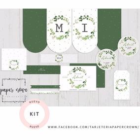 Kit Imprimible Greenery Laurel Cumpleaños Bautismos