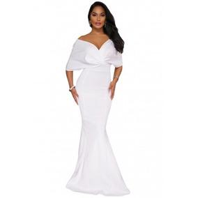 Vestido Blanco Fiesta Boda Largo Corte Sirena Elegante