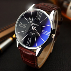 Relógio Importado Yazole Japonês Em Couro Masculino Barato