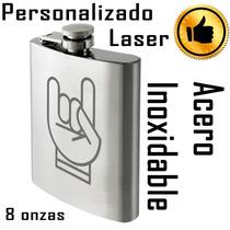 Licorera Acero Inoxidable 8 Oz Personalizada Grabado Laser