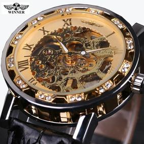 Relógio Masculino Couro Winner Esqueleto Mecânico Importado