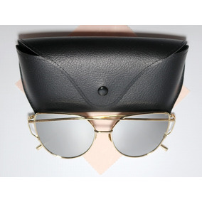 Óculos Espelhado Feminino Olho De Gato Gatinho Redondo Metal ec7c846e50