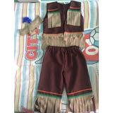 Disfraz Indio ( Chaleco,pantalón Y Hincha Con Pluma)