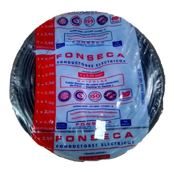 Cable Noralizado 2,5mm Negro X 100mts Fonseca Por E631