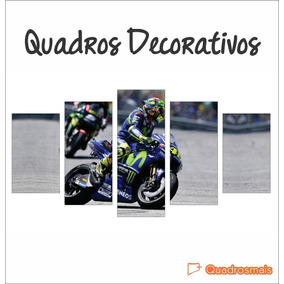 Quadro Canvas Valentino Rossi Piloto Moto Gp 5 Peças 160x80