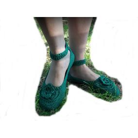 Guillerminas Al Crochet Con Aplique Suela Pvc. T 35/40