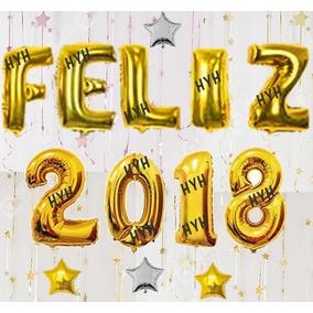 Kit Balão Metalizado Feliz 2018 - 40cm + 4 Brindes
