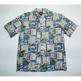 Camisa Hawaiana Original Tropical Floreada Surf Talle L 373