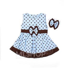 Vestido Azul De Bolinhas Brancas Infantil - Roupas de Bebê no ... a14f930219fbc