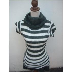 Lindo Sweater, Chaleco Mujer Cuello Tortuga A Rayas.