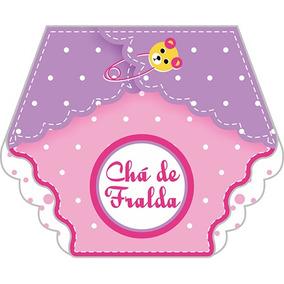 100 Convites Chá De Fraldas Menina Rosa - Via Mercado Envios