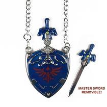 Zelda Collar Importado Escudo Hylian Master Sword Removible