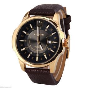 Relógio Masculino Curren Dourado Pulseira Sintético Couro