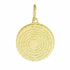 Pingente Religioso Medalha Oração São Jorge Folheado A Ouro