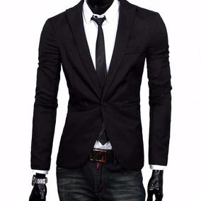 Blazer Slim Fit Masculino Casual Preto + Brinde Gravata Slim