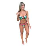 Biquini 3d Cortininha Bojo Feminino Moda Verão Pronta Entreg