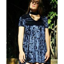 Velvet Choker Dress Color Navy Blue Terciopelo Azul Marino