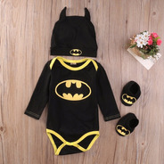 Fantasia Body Batman Para Bebê Touca Manga Longa E Sapatos