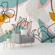 Painel Adesivo Papel De Parede Floral N014302 M²
