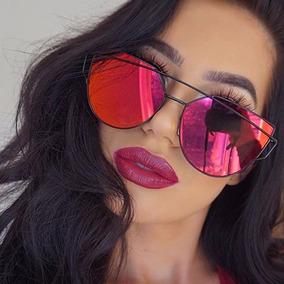 Óculos De Sol Feminino Olho De Gato Espelhado Twin-vigas